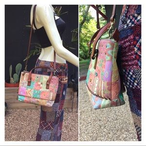Fossil Leather Patchwork Print Crossbody Purse